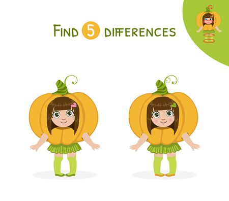 Find Differences, Educational Game for Kids, Cute Girl in Pumpkin Costume Vector Illustration Vetores