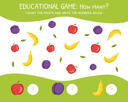 How Many, Education Game for Preschool Children, Development of Mathematical Abilities, Count the Fruits and Write the Number Below Vector Illustration, Web Design. Ilustração