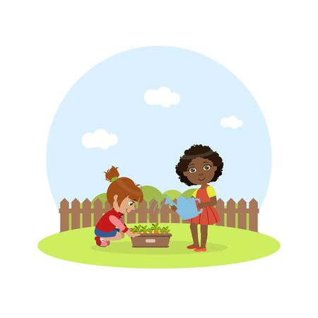 Cute Kids Working in Garden, Girl with Watering Can Watering Carrots Vector Illustration on White Background.
