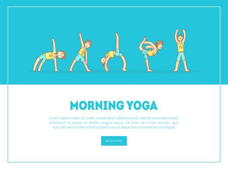 Morning Yoga Banner, Landing Page Template, Boy Practicing Asana Poses, Yoga Class, Healthy Lifestyle Vector Illustration