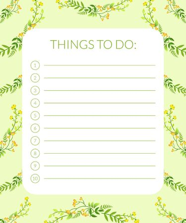 Things to Do Banner Label Template, Planner for Notes with Green Leaves and Flowers Vector Illustration, Web Design.