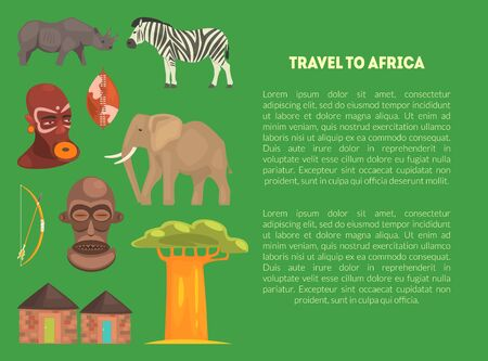 Travel to Africa Banner Template with Advertising Text, Article or Information Text about African Continent Vector Illustration, Web Design. Ilustração