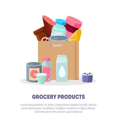 Grocery Products Banner, Landing Page Template, Paper Bag Full Everyday Goods, Grocery Store Vector Illustration