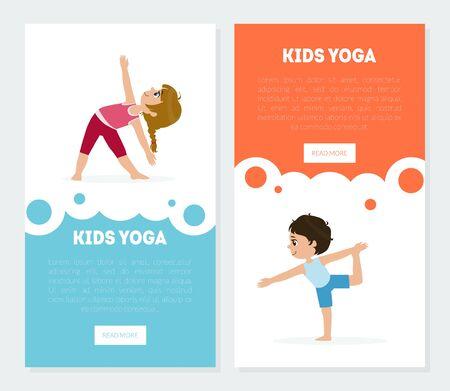 Yoga for Kids Banners Templates Set, Children Practicing Asana Poses, Yoga Classes Advertising Landing Pages Vector Illustration, Web Design. Vettoriali
