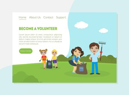 Become a Volunteer Banner, Landing Page Template, Children Gathering Garbage and Plastic Waste for Recycling, Environmental Protection Vector Illustration, Web Design.