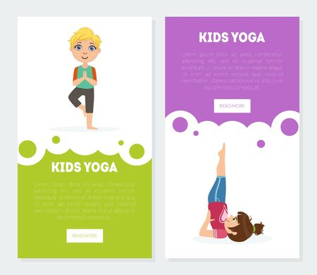 Yoga for Kids Banners, Landing Pages Templates Set, Children Practicing Asana Poses Vector Illustration, Web Design.