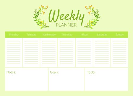 Weekly Planner Template, Organizer and Schedule Vector Illustration, Web Design.