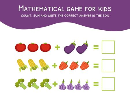 Mathematical Game for Kids, Count, Sum and Write the Correct Answer in the Box Vector Illustration, Web Design.