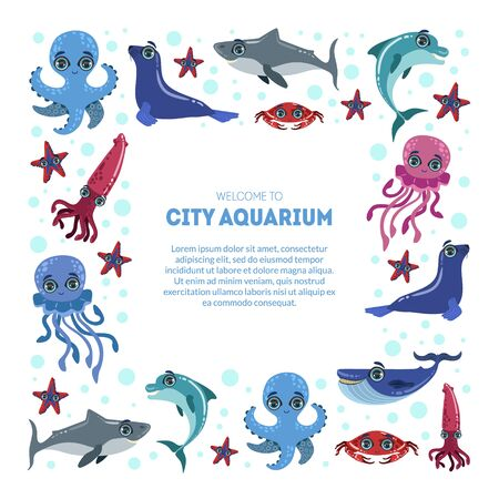 City Aquarium Exhibition Banner Template, Flyer, Poster, Invitation Card with Cute Sea Animals Characters Vector Illustration, Web Design.