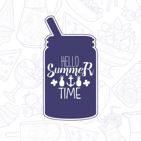 Hello Summer Lettering with Lemonade Drink in Mason Jar, Inspirational Poster, Banner, Card, Invitation, Logo, Label Vector Illustration, Web Design.