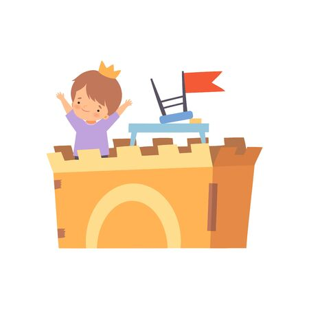 Creative Kid Character Playing Castle Made of Cardboard Boxes Cartoon Vector Illustration