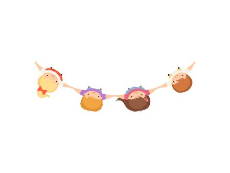 Kids Standing Together Holding Hands, Cute Little Boys and Girls, View from Above Cartoon Vector Illustration on White Background.