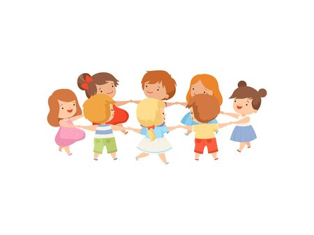 Kids Dancing in Circle Holding Hands, Cute Happy Boys and Girls Playing Together Cartoon Vector Illustration on White Background.