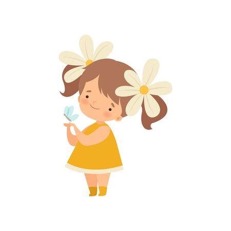 Lovely Little Girl with Chamomile Flowers in Her Hair Playing with Butterfly Cartoon Vector Illustration on White Background.