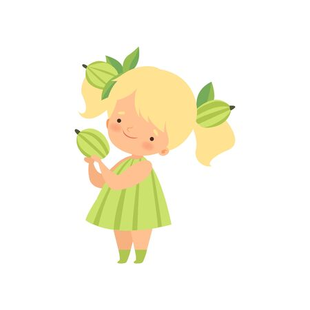 Cute Blonde Little Girl Wearing Gooseberry Costume, Adorable Kid Cartoon Character in Carnival Clothes Vector Illustration on White Background.