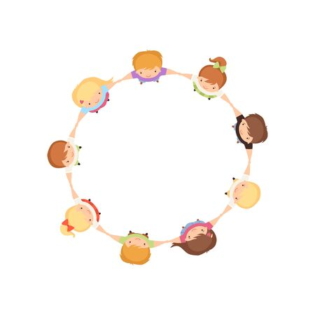 Kids Dancing in Circle Holding Hands, Cute Little Boys and Girls Playing Together, View from Above Cartoon Vector Illustration on White Background. Vektorové ilustrace