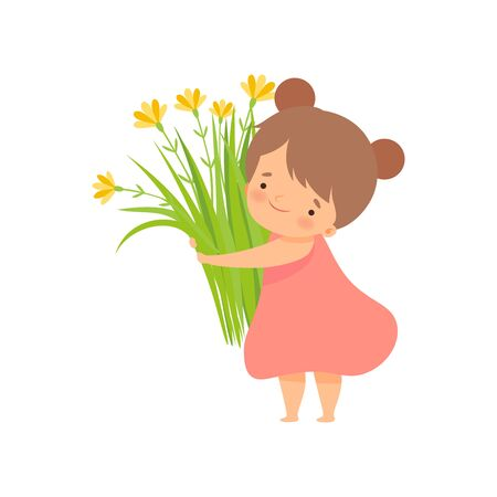 Cute Brunette Little Girl with Bouquet of Meadow Flowers, Adorable Little Kid Cartoon Character Playing Outside Vector Illustration on White Background.