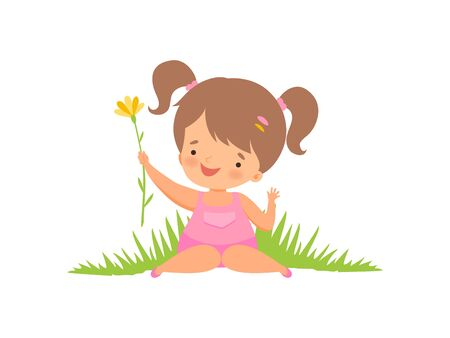 Cute Happy Girl on Green Meadow, Adorable Little Kid Cartoon Character Playing Outside Vector Illustration on White Background. Stock Illustratie
