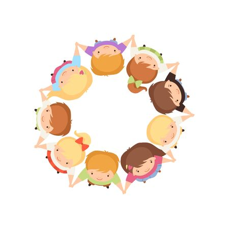 Kids Standing in Circle Holding Hands, Cute Preschool Boys and Girls Having Fun Together, Top View Cartoon Vector Illustration on White Background.