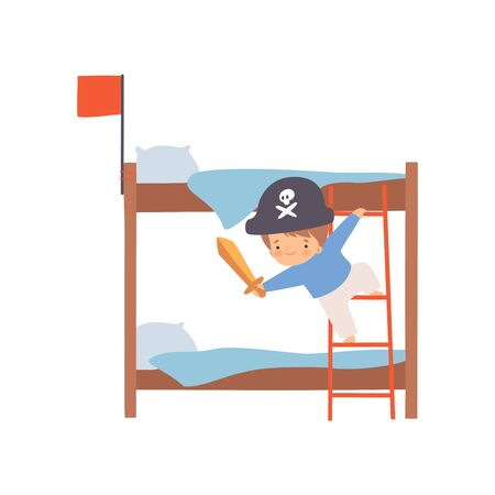 Creative Pirate Boy Character Playing Ship Made of Bunk Bed Cartoon Vector Illustration on White Background.