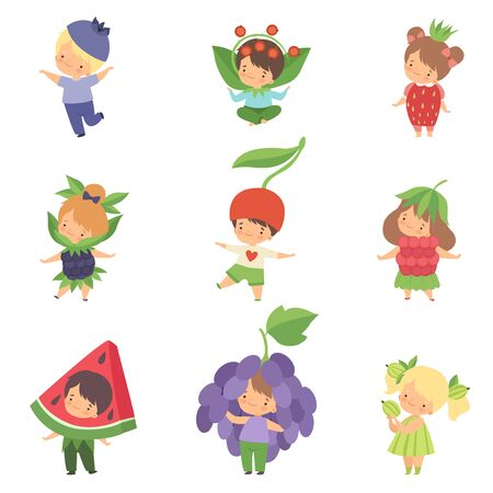 Cute Little Kids Wearing Berries Costumes Set, Adorable Boys and Girls Cartoon Characters in Carnival Clothes Vector Illustration