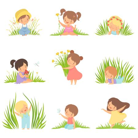 Cute Happy Kids Having Fun on Green Meadow Set, Adorable Little Boys and Girls Cartoon Characters Playing Outside Vector Illustration on White Background.