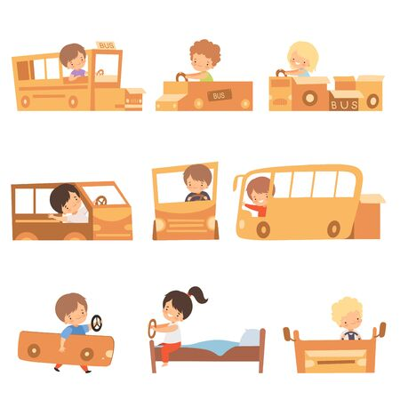 Cute Creative Kids Playing Toys Made of Cardboard Boxes Set, Cute Boys and Girls Playing Cars and Buses Made of Cardboard Boxes and Beds Cartoon Vector Illustration on White Background. Vectores