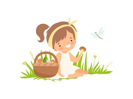Cute Happy Girl Picking Up Mushrooms on Green Meadow, Adorable Little Kid Cartoon Character Playing Outside Vector Illustration on White Background.