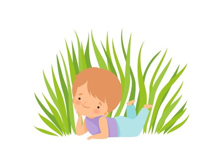 Cute Happy Boy Lying on Green Meadow, Adorable Little Kid Cartoon Character Playing Outside Vector Illustration on White Background. Illustration