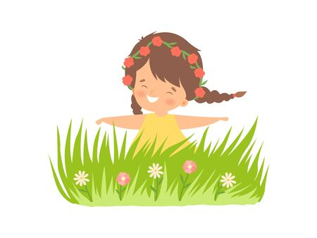 Lovely Little Girl Wearing Wreath of Red Flowers Having Fun on Summer Meadow, Adorable Little Kid Cartoon Character Playing Outside Vector Illustration on White Background.