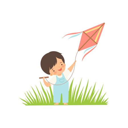 Cute Happy Boy Enjoying Flying Kite on Green Meadow, Adorable Little Kid Cartoon Character Playing Outside Vector Illustration on White Background.