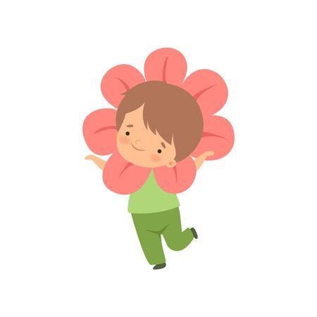 Niño lindo con traje de flores, personaje de dibujos animados de niño adorable en ropa de carnaval ilustración vectorial sobre fondo blanco.