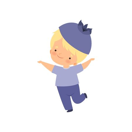 Cute Little Boy Wearing Blueberry Costume, Adorable Kid Cartoon Character in Carnival Clothes Vector Illustration
