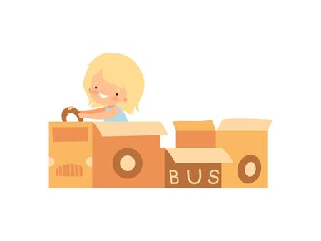 Cute Creative Girl Character Playing Bus Made of Cardboard Boxes Cartoon Vector Illustration on White Background.