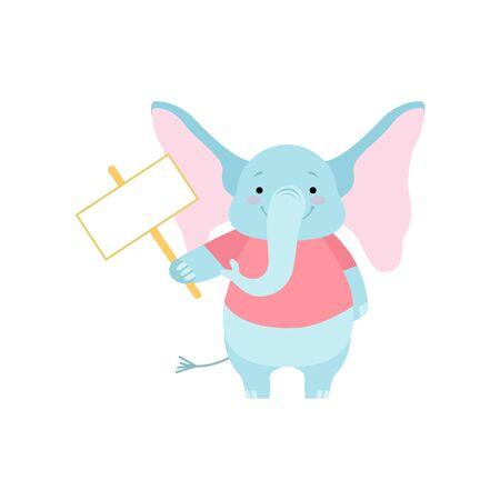 Cute Elephant Holding Blank Signboard, Funny Animal Cartoon Character Vector Illustration on White Background.
