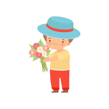 Lovely Little Boy in Hat Standing with Bouquet of Flowers Cartoon Vector Illustration