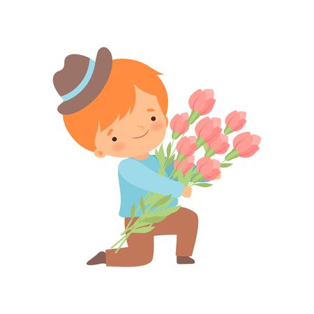 Cute Kneeling Little Boy with Bouquet of Flowers Cartoon Vector Illustration on White Background. Illustration