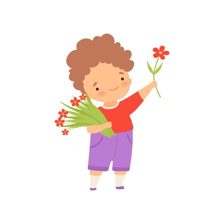 Cute Happy Little Boy with Bouquet of Flowers Cartoon Vector Illustration on White Background. Ilustrace