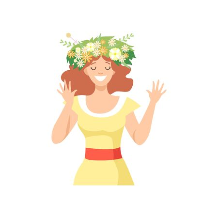 Young Beautiful Woman with Flower Wreath in Her Hair, Portrait of Happy Smiling Girl with Floral Wreath Vector Illustration on White Background.