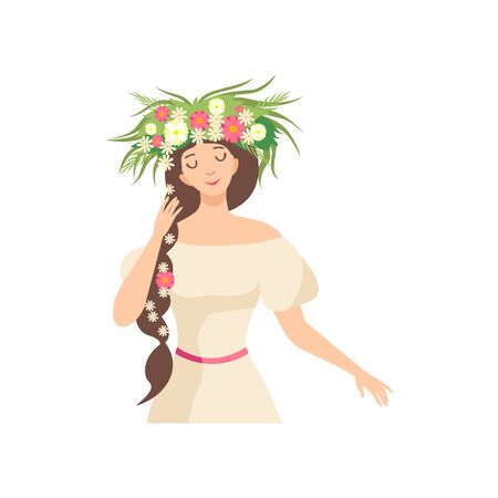 Young Beautiful Brunette Woman with Flower Wreath in Her Hair, Portrait of Elegant Girl with Floral Wreath and Braid Vector Illustration on White Background.