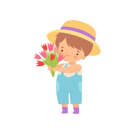 Adorable Little Boy in Hat Standing with Bouquet of Tulip Flowers Cartoon Vector Illustration on White Background.