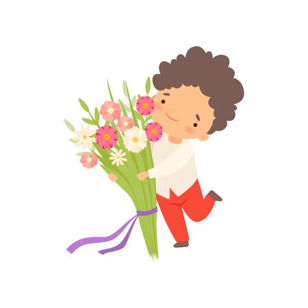 Cute Little Boy Running with Bouquet of Flowers Cartoon Vector Illustration on White Background.