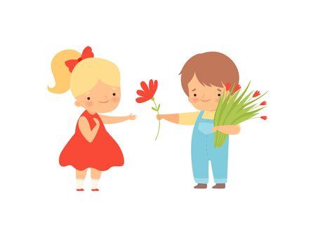 Ragazzino sveglio con il mazzo di fiori che dà fiore rosso alla bella ragazza bionda in vestito rosso fumetto illustrazione vettoriale su sfondo bianco.