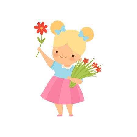 Lovely Little Blonde Girl with Bouquet of Red Flowers Cartoon Vector Illustration on White Background.