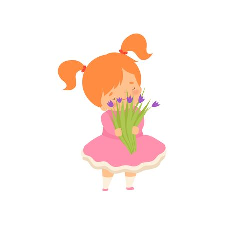 Lovely Little Girl with Bouquet of Wild Flowers Cartoon Vector Illustration on White Background.