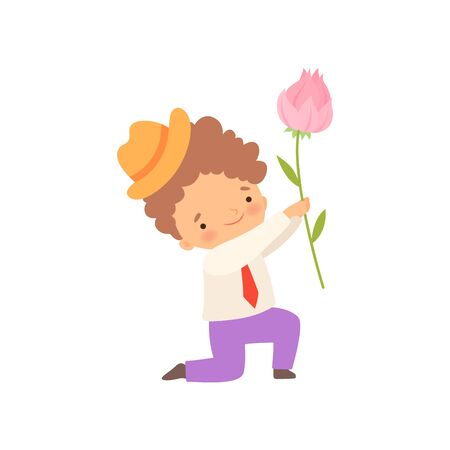 Cute Kneeling Little Boy Giving Pink Rose Flower Cartoon Vector Illustration on White Background. Ilustrace