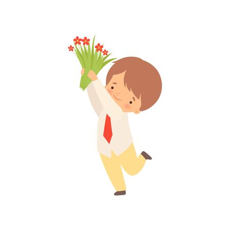 Cute Little Boy Standing with Bouquet of Red Flowers Cartoon Vector Illustration on White Background.