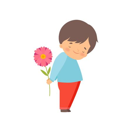 Embarrassed Little Boy Hiding Flower Behind His Back Cartoon Vector Illustration on White Background.