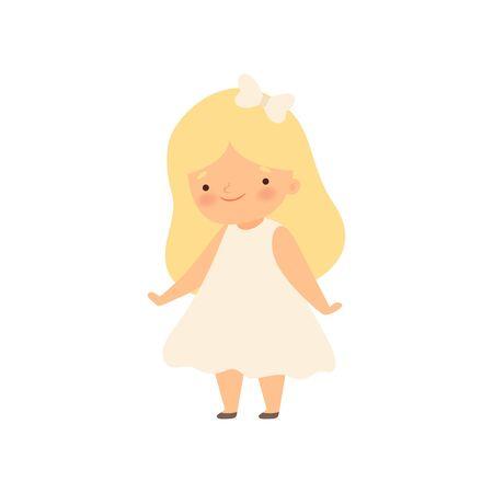 Adorable Smiling Blonde Little Girl in White Dress Cartoon Vector Illustration on White Background.