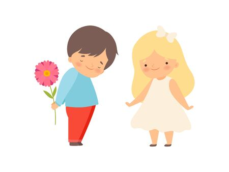 Embarrassed Little Boy Hiding Flower Behind His Back, Boy Giving Flower to Beautiful Little Girl Cartoon Vector Illustration on White Background.